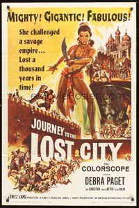 2p411 JOURNEY TO THE LOST CITY 1sh '60 directed by Fritz Lang, art of sexy Arabian Debra Paget!