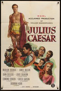 2p413 JULIUS CAESAR 1sh '53 art of Marlon Brando, James Mason & Greer Garson, Shakespeare!
