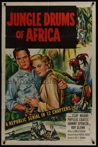 2p415 JUNGLE DRUMS OF AFRICA 1sh '52 Clayton Moore with gun & Phyllis Coates, Republic serial!