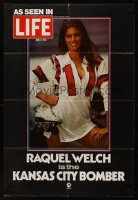 2p417 KANSAS CITY BOMBER LIFE teaser 1sh '72 sexy roller derby girl Raquel Welch, hottest on wheels!