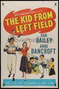 2p420 KID FROM LEFT FIELD 1sh '53 Dan Dailey, Anne Bancroft, baseball kid argues with umpire!