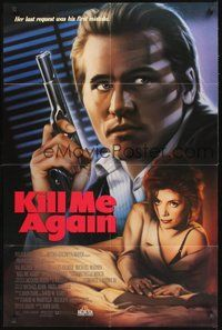 2p423 KILL ME AGAIN video 1sh '89 John Dahl film noir, art of Joanne Whalley-Kilmer & Val Kilmer!
