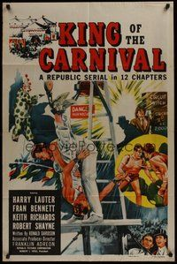 2p425 KING OF THE CARNIVAL 1sh '55 Republic serial, artwork of circus performers!