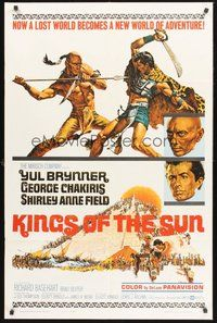 2p428 KINGS OF THE SUN style A 1sh '64 art of Yul Brynner with spear fighting George Chakiris!
