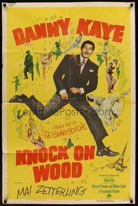 2p431 KNOCK ON WOOD 1sh '54 great full-length image of dancing Danny Kaye, Mai Zetterling!