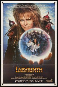 2p439 LABYRINTH teaser 1sh '86 Jim Henson, art of David Bowie & Jennifer Connelly by Chorney!