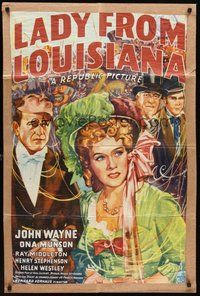 2p440 LADY FROM LOUISIANA kraftbacked 1sh '41 great colorful artwork of John Wayne, Ona Munson!