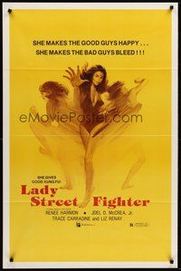 2p442 LADY STREET FIGHTER 1sh '85 she makes the good guys happy & she makes the bad guys bleed!