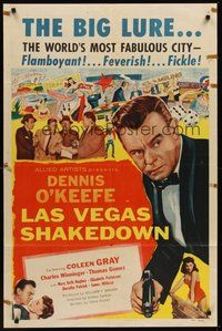 2p444 LAS VEGAS SHAKEDOWN 1sh '55 gambling Dennis O'Keefe in the world's most fabulous city!