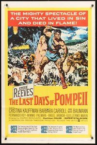 2p445 LAST DAYS OF POMPEII 1sh '60 art of mighty Steve Reeves in the fiery summit of spectacle!
