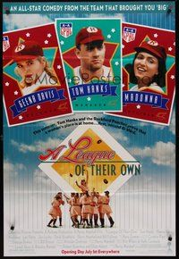 2p451 LEAGUE OF THEIR OWN advance DS 1sh '92 Tom Hanks, Madonna, women's baseball!