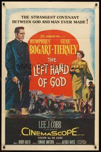 2p452 LEFT HAND OF GOD 1sh '55 artwork of priest Humphrey Bogart holding gun + sexy Gene Tierney!