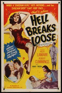 2p453 LET'S LIVE A LITTLE 1sh R53 full-length sexy Hedy Lamarr, Bob Cummings, Hell Breaks Loose!