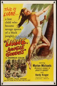2p455 LIANE JUNGLE GODDESS 1sh '58 super sexy mostly naked 16 year-old blonde Marion Michaels!