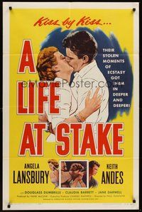 2p456 LIFE AT STAKE 1sh '55 romantic close-up of Angela Lansbury & Keith Andes!