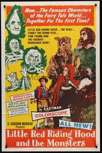 2p462 LITTLE RED RIDING HOOD & THE MONSTERS 1sh '64 really wacky, sure to scare little kids!