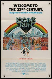 2p464 LOGAN'S RUN int'l 1sh '76 art of Michael York & Jenny Agutter running away by Charles Moll!