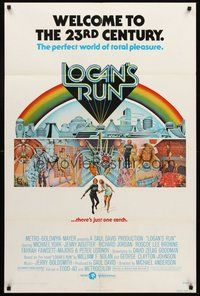 2p463 LOGAN'S RUN 1sh '76 art of Michael York & Jenny Agutter running away by Charles Moll!