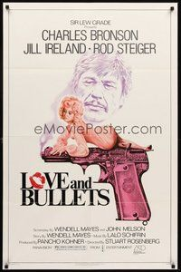 2p474 LOVE & BULLETS 1sh '79 art of Charles Bronson, sexy Jill Ireland laying on gun!