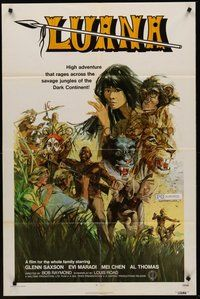 2p477 LUANA 1sh '72 sexy female Tarzan, wild jungle adventure artwork!