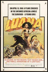 2p478 LUANA 1sh '73 great Frank Frazetta art of sexy female Tarzan w/jungle animals!