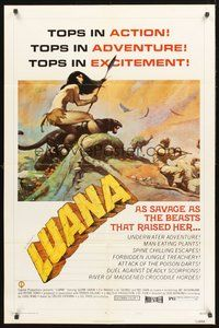 2p479 LUANA style B 1sh '73 great Frank Frazetta art of sexy female Tarzan!