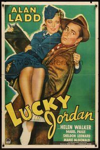2p480 LUCKY JORDAN style A 1sh '43 great close up art of tough Alan Ladd & sexy Helen Walker!