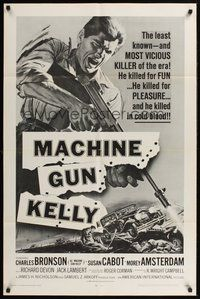 2p482 MACHINE GUN KELLY 1sh R68 without his gun Charles Bronson was naked yellow, cool art!