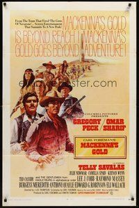 2p484 MacKENNA'S GOLD int'l 1sh '69 Gregory Peck, Omar Sharif, Telly Savalas & Julie Newmar!