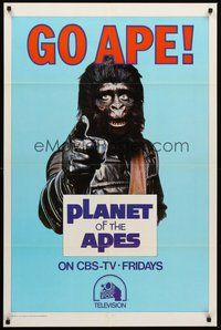 2p665 GO APE TV 1sh '74 ultra-rare PLANET OF THE APES CBS-TV style, great ape image!