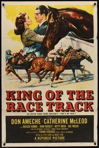 2p896 KING OF THE RACE TRACK 1sh '53 Don Ameche, Catherine McLeod, great horse racing images!