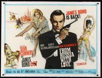 2s007 FROM RUSSIA WITH LOVE linen British quad '64 art of Sean Connery as James Bond by Fratini!