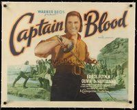 2s249 CAPTAIN BLOOD linen 1/2sh '35 different close up of image pirate Errol Flynn!