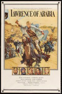 2t039 LAWRENCE OF ARABIA style A pre-Awards 1sh '62 David Lean, Terpning art of O'Toole on camel!