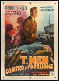 2w264 T-MEN linen Italian 1p '48 Anthony Mann film noir, cool different art by Anselmo Ballester!