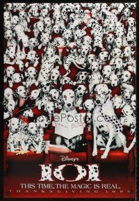 2y007 101 DALMATIANS teaser DS 1sh '96 Walt Disney live action, wacky image of dogs in theater!