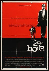 2y011 25th HOUR DS 1sh '02 Spike Lee directed, Edward Norton w/dog!