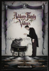 2y025 ADDAMS FAMILY VALUES advance DS 1sh '93 great image of Lurch with baby carriage!