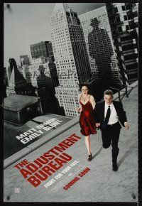 2y027 ADJUSTMENT BUREAU teaser DS 1sh '11 cool image of Matt Damon & sexy Emily Blunt on the run!
