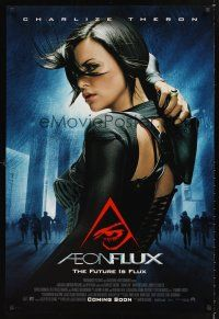 2y034 AEON FLUX advance DS 1sh '05 sexy futuristic Charlize Theron in leather!