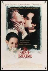 2y041 AGE OF INNOCENCE DS 1sh '93 Martin Scorsese, Daniel Day-Lewis, Winona Ryder!