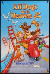 2y055 ALL DOGS GO TO HEAVEN 2 video 1sh '96 canine cartoon, voices of Charlie Sheen & Sheena Easton!