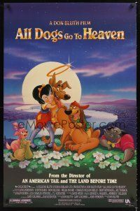 2y054 ALL DOGS GO TO HEAVEN DS 1sh '89 Don Bluth, Dom Deluise, cute art of dogs & girl!