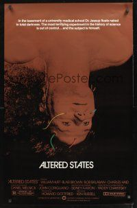 2y061 ALTERED STATES foil 1sh '80 William Hurt, Paddy Chayefsky, Ken Russell, sci-fi horror!