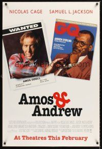 2y072 AMOS & ANDREW advance DS 1sh '93 wanted Nicolas Cage & GQ Samuel L Jackson!