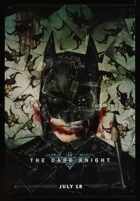 2y280 DARK KNIGHT wilding 1sh '08 cool playing card montage of Christian Bale as Batman!