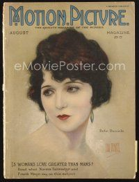 3d098 MOTION PICTURE magazine August 1923 wonderful artwork of Bebe Daniels by Hal Phyfe!
