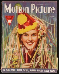 3d102 MOTION PICTURE magazine August 1938 great New Year's artwork portrait of Deanna Durbin!