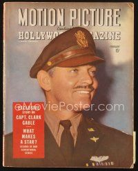 3d107 MOTION PICTURE magazine February 1944 exclusive story on Captain Clark Gable!