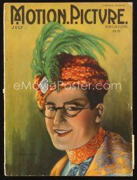3d092 MOTION PICTURE magazine July 1922 wonderful artwork of Harold Lloyd wearing feathered turban!